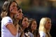 Oct 3, 2013; Atlanta, GA, USA; Atlanta Braves girls listen to God Bless America during the seventh inning stretch of game one of the National League divisional series playoff baseball game against the Los Angeles Dodgers at Turner Field. Mandatory Credit: Daniel Shirey-USA TODAY Sports
