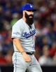 Oct 3, 2013; Atlanta, GA, USA; Los Angeles Dodgers relief pitcher Brian Wilson (00) during the eighth inning of game one of the National League divisional series playoff baseball game against the Atlanta Braves at Turner Field. Mandatory Credit: Daniel Shirey-USA TODAY Sports