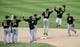Oct 4, 2013; St. Louis, MO, USA; Members of the Pittsburgh Pirates celebrate after game two of the National League divisional series playoff baseball game against the St. Louis Cardinals at Busch Stadium. Mandatory Credit: Jasen Vinlove-USA TODAY Sports