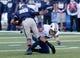 Oct 4, 2013; Logan, UT, USA; Brigham Young Cougars defensive back Skye PoVey (7) tackles Utah State Aggies quarterback Chuckie Keeton (16) during the first quarter at Romney Stadium. Mandatory Credit: Chris Nicoll-USA TODAY Sports