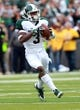 Oct 5, 2013; Iowa City, IA, USA;  Michigan State Spartans receiver Macgarrett Kings Jr. catches a pass for a touchdown against the Iowa Hawkeyes at Kinnick Stadium. Mandatory Credit: Reese Strickland-USA TODAY Sports