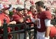 Oct 5, 2013; Tuscaloosa, AL, USA; Alabama Crimson Tide quarterback A.J. McCarron (10) greets fans at the fence after the Tides 45-3 victory over the Georgia State Panthers at Bryant-Denny Stadium. Mandatory Credit: John David Mercer-USA TODAY Sports