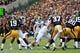 Oct 5, 2013; Iowa City, IA, USA;  Michigan State Spartans kicker Michael Geiger (4) kicks a field goal in the 4th quarter against the Iowa Hawkeyes at Kinnick Stadium. Michigan State beat Iowa 26-14.  Mandatory Credit: Reese Strickland-USA TODAY Sports