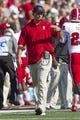 Oct 5, 2013; Winston-Salem, NC, USA; North Carolina State Wolfpack head coach Dave Doeren walks down the field during the second quarter against the Wake Forest Demon Deacons at BB&T Field. Mandatory Credit: Jeremy Brevard-USA TODAY Sports