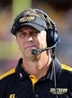 Oct 5, 2013; Hattiesburg, MS, USA; Southern Miss Golden Eagles head coach Todd Monken in the bench area during the second quarter of their game against the FIU Golden Panthers at M.M. Roberts Stadium. Mandatory Credit: Chuck Cook-USA TODAY Sports