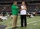 Oct 5, 2013; Arlington, TX, USA; Notre Dame Fighting Irish head coach Brian Kelly and Arizona State Sun Devils head coach Todd Graham chat before the game at AT&T Stadium. Mandatory Credit: Matt Cashore-USA TODAY Sports