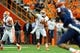 Oct 5, 2013; Syracuse, NY, USA; Clemson Tigers quarterback Tajh Boyd (10) passes the ball during the second quarter against the Syracuse Orange at the Carrier Dome.  Clemson defeated Syracuse 49-14.  Mandatory Credit: Rich Barnes-USA TODAY Sports