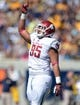 Oct 5, 2013; Berkeley, CA, USA; Washington State Cougars nose tackle Ioane Gauta (95) celebrates after a sack against the California Golden Bears at Memorial Stadium. Washington State defeated California 44-22. Mandatory Credit: Kirby Lee-USA TODAY Sports