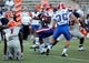 Oct 5, 2013; El Paso, TX, USA; Louisiana Tech Bulldogs wide receiver D.J. Banks (5) tries to break a tackle against the UTEP Miners at Sun Bowl Stadium. Mandatory Credit: Ivan Pierre Aguirre-USA TODAY Sports