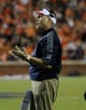 Oct 5, 2013; Auburn, AL, USA; Mississippi Rebels head coach Hugh Freeze speaks to a player during the second half against the Auburn Tigers at Jordan Hare Stadium. Mandatory Credit: Shanna Lockwood-USA TODAY Sports