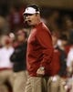 Oct 5, 2013; Norman, OK, USA; Oklahoma Sooners head coach Bob Stoops yells at his team during the game against the TCU Horned Frogs at Gaylord Family - Oklahoma Memorial Stadium. The Oklahoma Sooners beat the TCU Horned Frogs 20-17. Mandatory Credit: Tim Heitman-USA TODAY Sports
