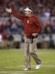 Oct 5, 2013; Norman, OK, USA; Oklahoma Sooners head coach Bob Stoops on yells to his team during the game against the TCU Horned Frogs at Gaylord Family - Oklahoma Memorial Stadium. The Oklahoma Sooners beat the TCU Horned Frogs 20-17. Mandatory Credit: Tim Heitman-USA TODAY Sports