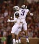 Oct 5, 2013; Norman, OK, USA; TCU Horned Frogs quarterback Trevone Boykin (2) and wide receiver Brandon Carter (3) celebrate a touchdown in the fourth quarter of the game Oklahoma Sooners at Gaylord Family - Oklahoma Memorial Stadium. The Oklahoma Sooners beat the TCU Horned Frogs 20-17. Mandatory Credit: Tim Heitman-USA TODAY Sports