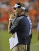 Oct 5, 2013; Auburn, AL, USA; Mississippi Rebels head coach Hugh Freeze looks on from the sidelines during the second half against the Auburn Tigers at Jordan Hare Stadium. The Tigers defeated the Rebels 33-20.  Mandatory Credit: Shanna Lockwood-USA TODAY Sports