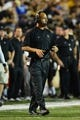 Oct 5, 2013; Nashville, TN, USA; Vanderbilt Commodores head coach James Franklin directs his team in a time out against the Missouri Tigers during the first half at Vanderbilt Stadium. The Tigers beat the Commodores 51-28. Mandatory Credit: Don McPeak-USA TODAY Sports