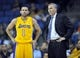 October 5, 2013; Ontario, CA, USA; Los Angeles Lakers point guard Jordan Farmar (1) speaks with head coach Mike D'Antoni during the first half at Citizens Business Bank Arena. Mandatory Credit: Gary A. Vasquez-USA TODAY Sports