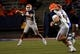 Oct 5, 2013; El Paso, TX, USA; UTEP quarterback Jameill Showers (1) drops back for a pass against the Louisiana Tech Bulldogs at Sun Bowl Stadium. Mandatory Credit: Ivan Pierre Aguirre-USA TODAY Sports