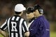 Oct 5, 2013; Stanford, CA, USA; Washington Huskies head coach Steve Sarkisian talks with officials during a timeout against the Stanford Cardinal in the second quarter at Stanford Stadium. Mandatory Credit: Cary Edmondson-USA TODAY Sports