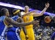 October 5, 2013; Ontario, CA, USA; Los Angeles Lakers center Chris Kaman (9) turns the ball over against the Golden State Warriors defense during the second half at Citizens Business Bank Arena. Mandatory Credit: Gary A. Vasquez-USA TODAY Sports
