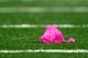 Oct 6, 2013; St. Louis, MO, USA; A penalty flag that is pink in honor of breast cancer awareness month is seen on the turf during the fourth quarter of a game between the St. Louis Rams and the Jacksonville Jaguars at The Edward Jones Dome. Mandatory Credit: Scott Kane-USA TODAY Sports