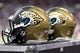Oct 6, 2013; St. Louis, MO, USA; Jacksonville Jaguars football helmets as seen on the sidelines during a game against the St. Louis Rams at The Edward Jones Dome. Mandatory Credit: Scott Kane-USA TODAY Sports