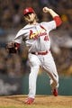 Oct 6, 2013; Pittsburgh, PA, USA; St. Louis Cardinals relief pitcher Kevin Siegrist throws a pitch against the Pittsburgh Pirates in game three of the National League divisional series playoff baseball game at PNC Park. Mandatory Credit: Charles LeClaire-USA TODAY Sports