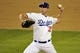 October 6, 2013; Los Angeles, CA, USA; Los Angeles Dodgers starting pitcher Chris Capuano (35) pitches in the sixth inning against the Atlanta Braves in game three of the National League divisional series playoff baseball game at Dodger Stadium. Mandatory Credit: Robert Hanashiro-USA TODAY Sports