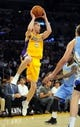 Oct 6, 2013; Los Angeles, CA, USA; Los Angeles Lakers guard Steve Blake (5) looks to pass the ball during the first half against the Denver Nuggets at Staples Center. Mandatory Credit: Christopher Hanewinckel-USA TODAY Sports