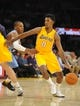 Oct 6, 2013; Los Angeles, CA, USA; Los Angeles Lakers guard Nick Young (0) dribbles to the basket during the first half against the Denver Nuggets at Staples Center. Mandatory Credit: Christopher Hanewinckel-USA TODAY Sports