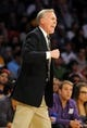 Oct 6, 2013; Los Angeles, CA, USA; Los Angeles Lakers head coach Mike D'Antoni reacts to a call during the second half against the Denver Nuggets at Staples Center. The Nuggets won 97-88. Mandatory Credit: Christopher Hanewinckel-USA TODAY Sports
