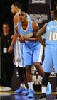 Oct 6, 2013; Los Angeles, CA, USA; Denver Nuggets forward Darrell Arthur (00) after a foul during the second half against the Los Angeles Lakers at Staples Center. The Nuggets won 97-88. Mandatory Credit: Christopher Hanewinckel-USA TODAY Sports