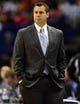 Oct 7, 2013; St. Louis, MO, USA; Memphis Grizzlies head coach David Joerger looks on during the first quarter against the Chicago Bulls at Scottrade Center. Mandatory Credit: Jeff Curry-USA TODAY Sports