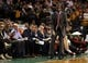 Oct 7, 2013; Boston, MA, USA; Toronto Raptors head coach Dwane Casey reacts as they take on the Boston Celtics in the second half at TD Garden. The Raptors defeated the Celtics 97-89. Mandatory Credit: David Butler II-USA TODAY Sports