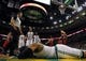 Oct 7, 2013; Boston, MA, USA; Boston Celtics forward Jared Sullinger (7) face down on the court after a play with Toronto Raptors power forward Tyler Hansbrough (50) in the second half at TD Garden. The Raptors defeated the Celtics 97-89. Mandatory Credit: David Butler II-USA TODAY Sports