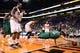 Oct 7, 2013; Phoenix, AZ, USA; Haifa  center Uri Kokia (4) dives for the ball in the first half as the Phoenix Suns watch on at US Airways Center. Mandatory Credit: Jennifer Stewart-USA TODAY Sports