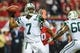 Oct 7, 2013; Atlanta, GA, USA; New York Jets quarterback Geno Smith (7) throws a pass in the second half against the Atlanta Falcons at the Georgia Dome. The Jets won 30-28. Mandatory Credit: Daniel Shirey-USA TODAY Sports