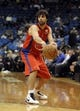 Oct 7, 2013; Minneapolis, MN, USA;  CSKA Moscow guard Milos Teodosic (4) passes in the third quarter against the Minnesota Timberwolves at Target Center.  CSKA Moscow defeated the Minnesota Timberwolves 108-106 in overtime.  Mandatory Credit: Marilyn Indahl-USA TODAY Sports