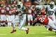 Oct 7, 2013; Atlanta, GA, USA; New York Jets running back Mike Goodson (23) runs the ball in the second half against the Atlanta Falcons at the Georgia Dome. The Jets won 30-28. Mandatory Credit: Daniel Shirey-USA TODAY Sports