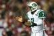 Oct 7, 2013; Atlanta, GA, USA; New York Jets quarterback Geno Smith (7) celebrates in the second half against the Atlanta Falcons at the Georgia Dome. The Jets won 30-28. Mandatory Credit: Daniel Shirey-USA TODAY Sports