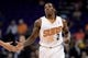 Oct 7, 2013; Phoenix, AZ, USA; Phoenix Suns guard Eric Bledsoe (2) is congratulated by a teammate in the first half against Haifa at US Airways Center. The Suns defeated Haifa 130 to 89.  Mandatory Credit: Jennifer Stewart-USA TODAY Sports