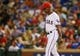 Sep 26, 2013; Arlington, TX, USA; Texas Rangers manager Ron Washington (38) walks to the mound during the game against the Los Angeles Angels at Rangers Ballpark in Arlington. Mandatory Credit: Kevin Jairaj-USA TODAY Sports
