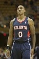 Oct 8, 2013; Asheville, NC, USA;  Atlanta Hawks point guard Jeff Teague (0) stands on the court during the first half of the game against the Charlotte Bobcats at the U.S. Cellular Center.The Hawks defeated the Bobcats 87-85.  Mandatory Credit: Jeremy Brevard-USA TODAY Sports