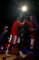 Oct 8, 2013; Auburn Hills, MI, USA; Detroit Pistons center Andre Drummond (left) gives a high five to Detroit Pistons point guard Chauncey Billups (right) before the game against Haifa at The Palace of Auburn Hills. Pistons beat Haifa 91-69. Mandatory Credit: Raj Mehta-USA TODAY Sports
