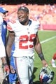 Sep 29, 2013; Kansas City, MO, USA; New York Giants running back Michael Cox (29) leaves the field after the game against the Kansas City Chiefs at Arrowhead Stadium. The Chiefs won 31-7. Mandatory Credit: Denny Medley-USA TODAY Sports