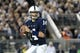 Sep 14, 2013; University Park, PA, USA; Penn State Nittany Lions quarterback Christian Hackenberg (14) attempts to throw a pass during the third quarter against the Central Florida Knights at Beaver Stadium. Central Florida defeated Penn State 34-31. Mandatory Credit: Matthew O'Haren-USA TODAY Sports