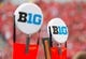 Sep 21, 2013; Madison, WI, USA;  The Big 10 logo on top of yardage markers during the game between the Purdue Boilermakers and Wisconsin Badgers at Camp Randall Stadium. Wisconsin defeated Purdue 41-10.  Mandatory Credit: Jeff Hanisch-USA TODAY Sports