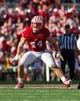 Sep 21, 2013; Madison, WI, USA;  Wisconsin Badgers linebacker Chris Borland (44) during the game against the Purdue Boilermakers at Camp Randall Stadium. Wisconsin defeated Purdue 41-10.  Mandatory Credit: Jeff Hanisch-USA TODAY Sports