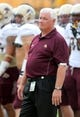 Aug 31, 2013; Hattiesburg, MS, USA; Texas State Bobcats head coach Dennis Franchione on the sidelines before their game against the Southern Miss Golden Eagles at M.M. Roberts Stadium. Mandatory Credit: Chuck Cook-USA TODAY Sports
