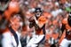 Sep 29, 2013; Denver, CO, USA; Denver Broncos quarterback Peyton Manning (18) prepares to pass against the Philadelphia Eagles in the first quarter at Sports Authority Field at Mile High. Mandatory Credit: Ron Chenoy-USA TODAY Sports