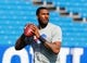 Sep 29, 2013; Orchard Park, NY, USA; Buffalo Bills quarterback EJ Manuel (3) before a game against the Baltimore Ravens at Ralph Wilson Stadium. Mandatory Credit: Timothy T. Ludwig-USA TODAY Sports